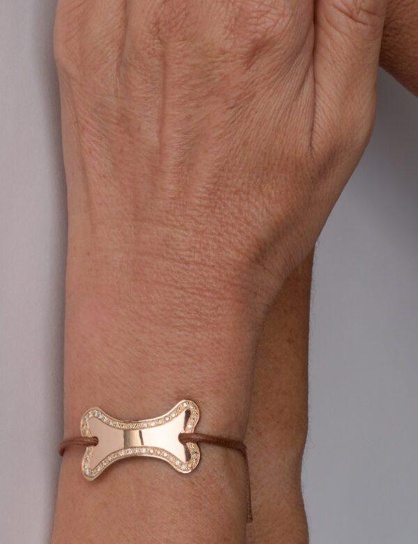 Supersize Powder bracciale in oro rosa con diamanti champagne