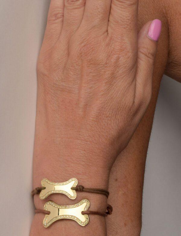 Supersize Honey bracciale in oro giallo con diamanti champagne