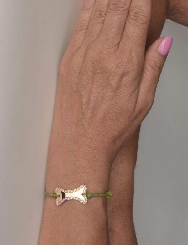 Sand Ossino bracciale pavé line in oro rosa e diamanti bianchi